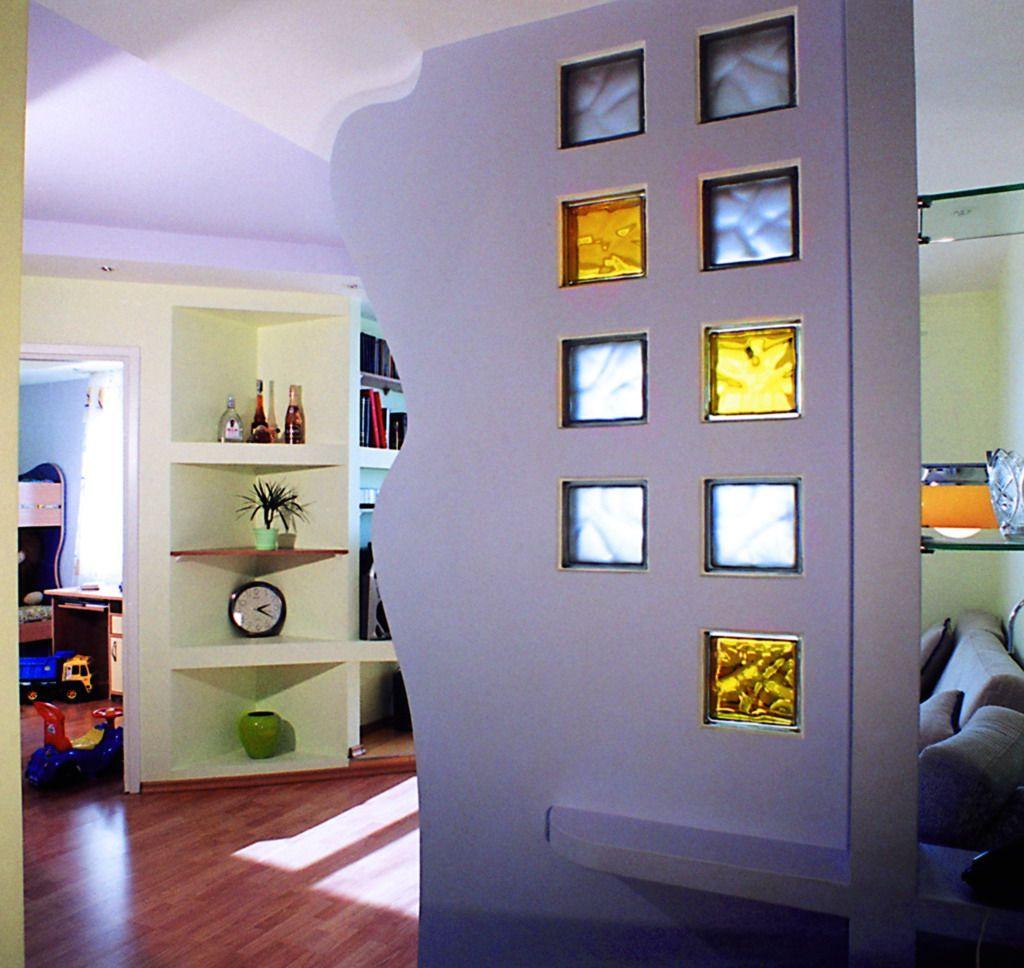 Декоративные стеклоблоки в интерьере фото