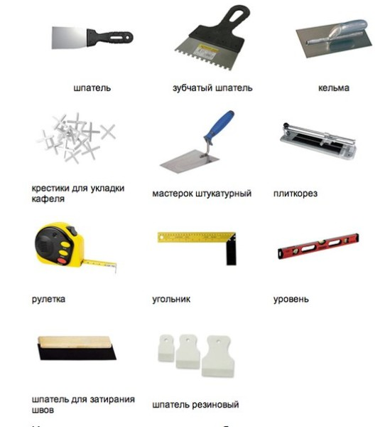Инструменты, которые понадобятся при укладке плитки на стену
