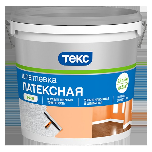 Шпаклевка марки Текс, известной компании Тиккурила, применяется для выравнивания небольших перепадов и заделывания выбоин и трещин