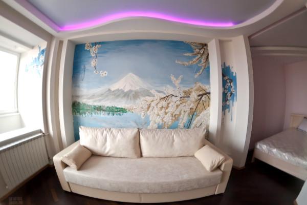 Пейзаж горы в спальной комнате