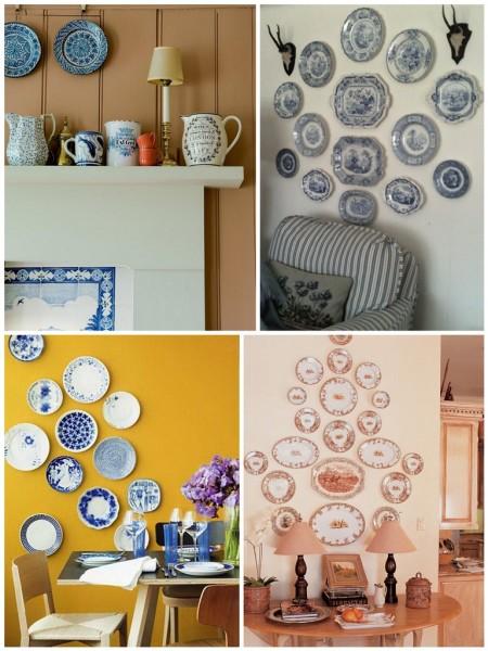 Оформление стены фарфоровыми тарелками присуще кантри стилю