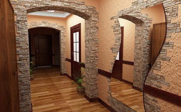 Отделка стен декоративным камнем и обоями в зале 19