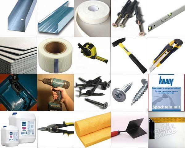 Инструменты и материалы для монтажа гипсокартонного короба