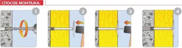 Крепление пенопласта с помощью дюбелей