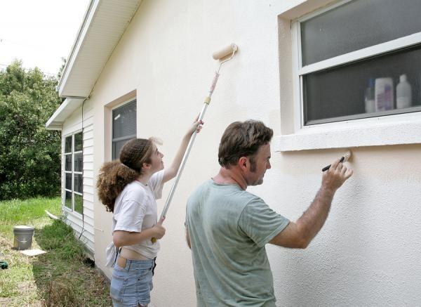 Покраска фасадной штукатурки