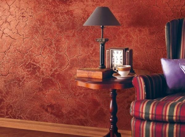 Мраморная краска в интерьере комнаты