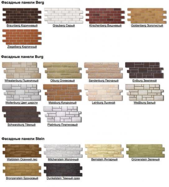 Ассортимент фасадных панелей Docke