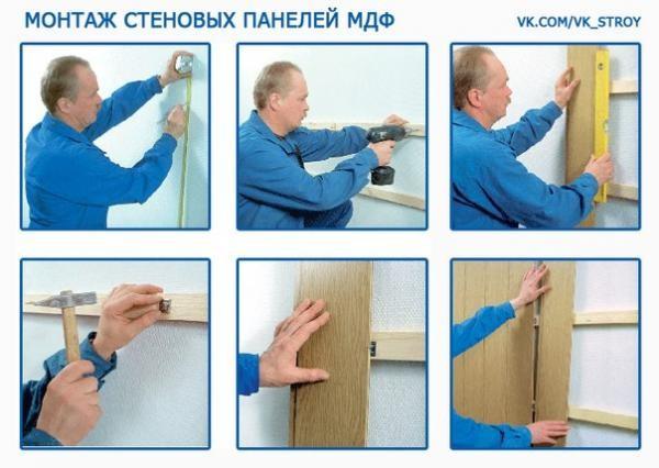 Монтаж МДФ панелей на деревянную обрешетку