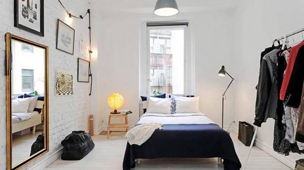 Использование кирпича в спальной