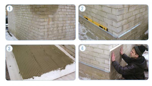 Монтаж пенопласта к стене с помощью плиточного клея