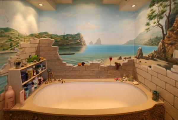 Влагостойкие 3д обои для ванной комнаты