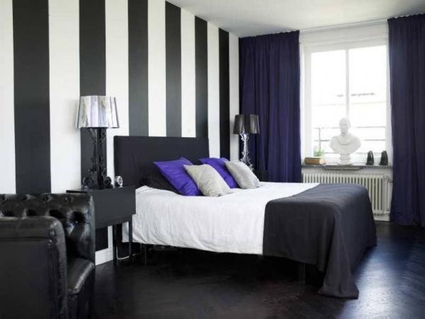 черно-белые обои для стен в интерьере фото