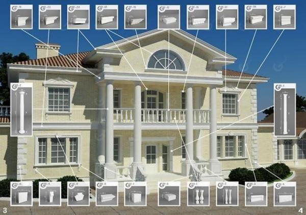 Элементы для фасадного декора из пенопласта