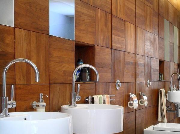 Отделка ванной древесиной