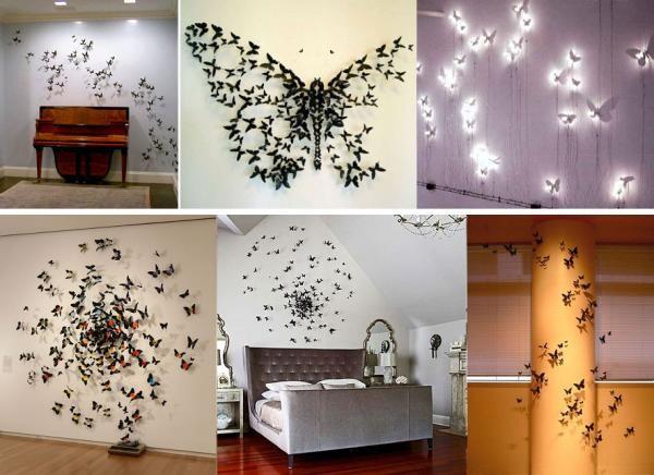 Бабочки на стене своими руками 61