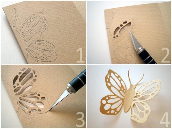 Вырезаем бабочку из бумаги