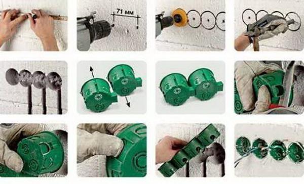 Как сделать отверстие под выключатель 851